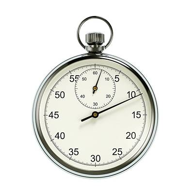 Mechanism Photograph - Stopwatch On White Background by David Parker