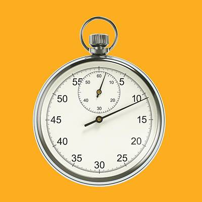 Stopwatch On Yellow Background Print by David Parker