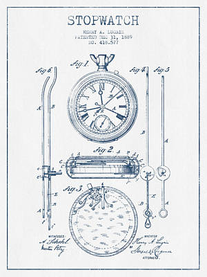 Alarm Clock Drawing - Stopwatch Patent Drawing From 1889 - Blue Ink by Aged Pixel