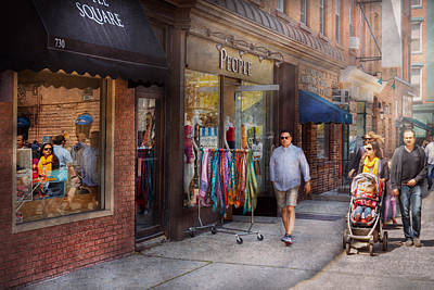 Photograph - Store Front - Hoboken Nj - People by Mike Savad
