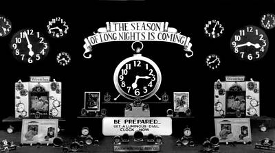 Window Displays Photograph - Store Window Clock Display by Underwood Archives