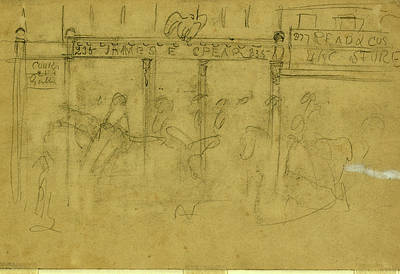 Storefront Artist Drawing - Storefronts, Drawing, 1862-1865, By Alfred R Waud by Quint Lox