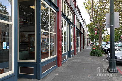 Storefronts In Historic Railroad Square Area Santa Rosa California 5d25856 Art Print by Wingsdomain Art and Photography