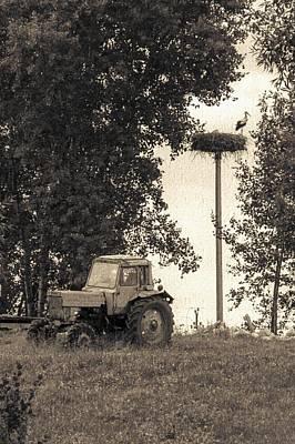 Stork Vs Tractor Art Print by Yevgeni Kacnelson