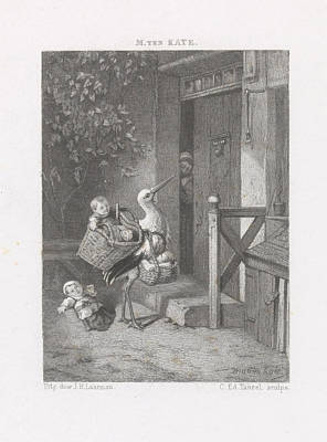 Stork Drawing - Stork With Babies For A House Door, Edouard Taurel by Artokoloro