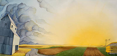 Grain Elevator Painting - Storm And Sunset II by Scott Kirby