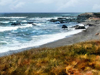 Sand Dunes Painting - Storm Approaching Along The Central California Coast by Elaine Plesser