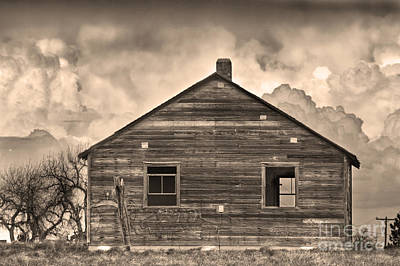 Photograph - Storm Approaching Rustic Rural Farm House Sepia by James BO Insogna