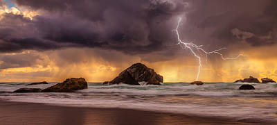 Storm At Face Rock Print by Darren  White