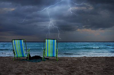 Lightning Bolts Photograph - Storm Chairs by Laura Fasulo