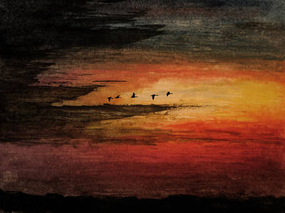 Canadian Geese Mixed Media - Storm Chasing by R Kyllo