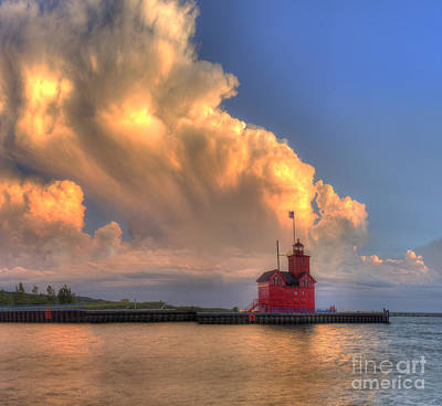 Holland Michigan Photograph - Storm Cloud Over Big Red Lighthouse by Twenty Two North Photography