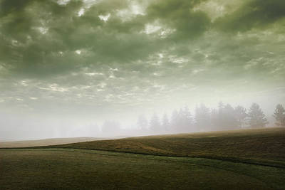 Storm Clouds And Foggy Hills Art Print by Vast Photography