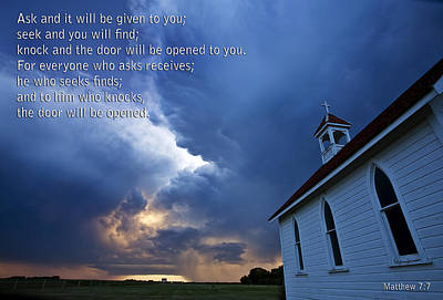 Old Country Roads Digital Art - Storm Clouds And Scripture Matthew Country Church by Mark Duffy