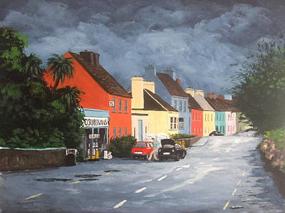 Streetscape Painting - Storm Clouds, Eyeries by Tony Gunning