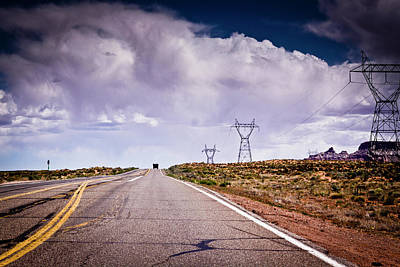 Arizona Photograph - Storm Clouds Hang Over Highway by Www.mileswillis.co.uk