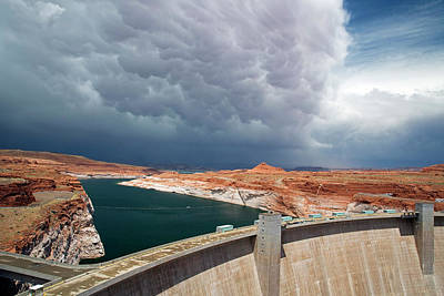 Storm Clouds Over Glen Canyon Dam Art Print by Jim West