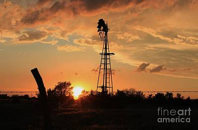 Photograph - Storm Cloud's With Windmill Sillhouette by Robert D  Brozek