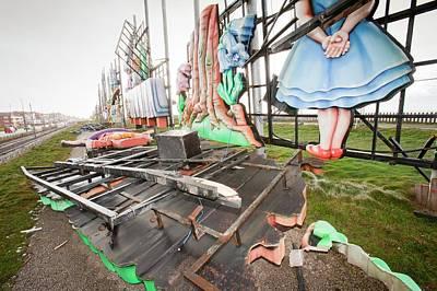 Storm Damage To Blackpool Illuminations Art Print by Ashley Cooper