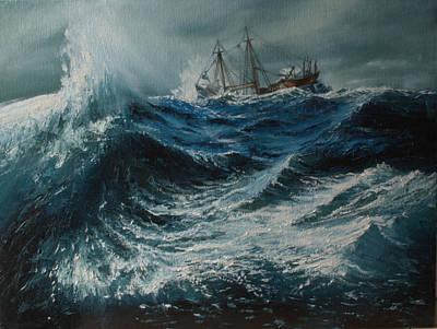 Storm In The Sea Art Print by Shobita Sreekumar