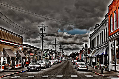 City Streets Photograph - Storm Looming Over Downtown La Conner by David Patterson