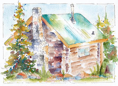 Painting - Storm Mountain Cabin by Pat Katz