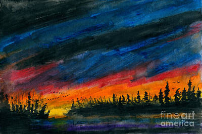 Canadian Geese Painting - Storm Moving Out by R Kyllo