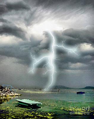 Storm On Balaton Lake Art Print by Odon Czintos