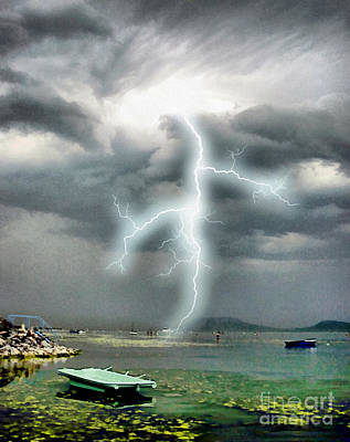 Eco-tourism Painting - Storm On Balaton Lake by Odon Czintos