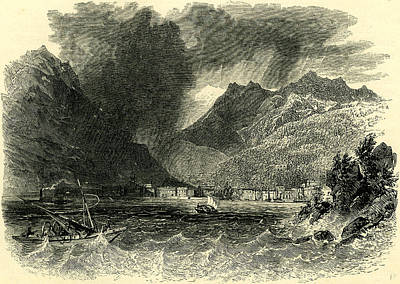 Storm Drawing - Storm On Lake Como Italy by Italian School
