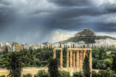 Print featuring the photograph Storm Over Athens by Micah Goff