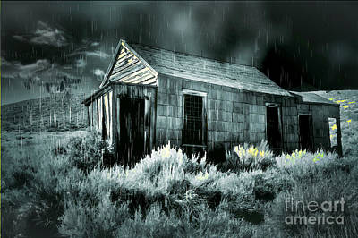 Digital Art - Storm Over Bodie Bordello by Georgianne Giese