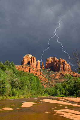 Storm Over Cathedral Rock Art Print by Alexey Stiop