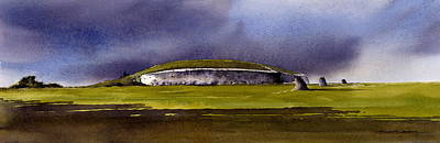 Neolithic Painting - Storm Over Newgrange by Roland Byrne