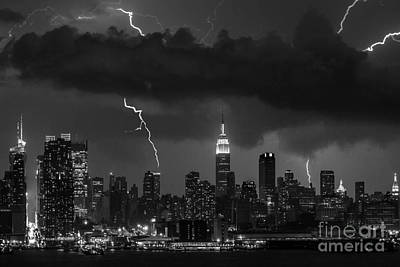 Storm Over Nyc  Art Print by Jerry Fornarotto