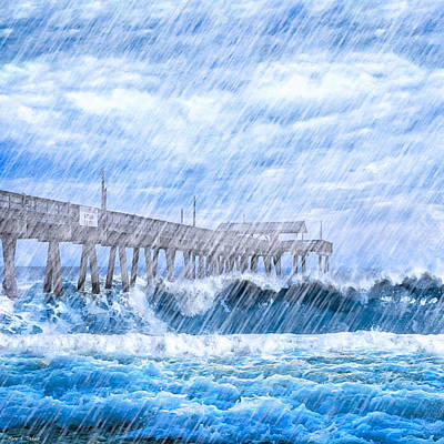 Storm Over The Sea - Tybee Pier Art Print by Mark E Tisdale