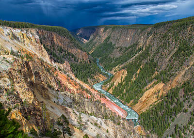 Photograph - Storm Over The Yellowstone Canyon by John M Bailey