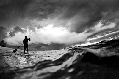 Black And White Surf Photograph - Storm Paddler by Sean Davey