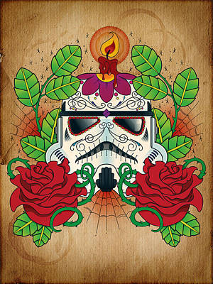 Storm Trooper Sugar Skull Art Print by Samuel Whitton