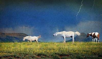 Thunder Painting - Storm Warning Wild Horses by R christopher Vest
