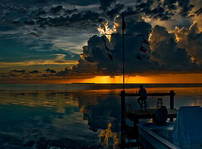 Sunset Tropical Storm And Watcher In Florida Keys Art Print