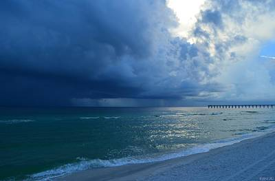 Photograph - Storms Brewing Off Navarre Beach At Dawn by Jeff at JSJ Photography