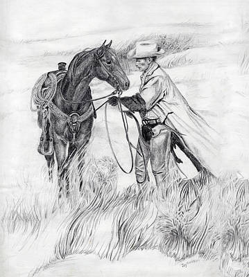 Go West Young Man Drawing - Storms Coming. by Joyce Hinkson
