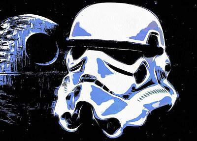 Science Fiction Mixed Media - Stormtrooper Helmet And Death Star by Dan Sproul