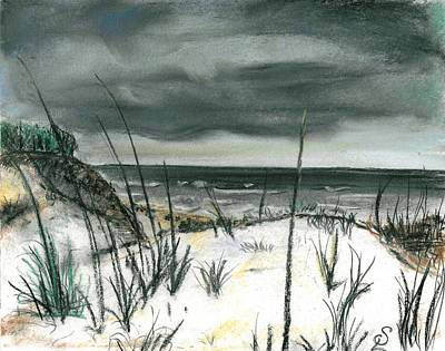 Beach Landscape Drawing - Stormy Beach by Sarah Lowe