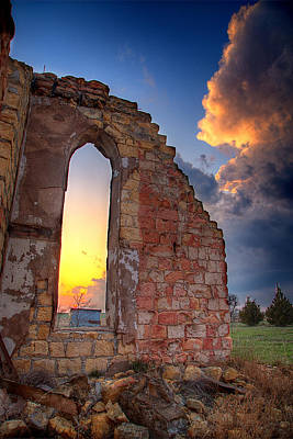 Prairie Storm Photograph - Stormy Church by Thomas Zimmerman