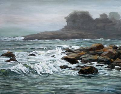 Rockport Massachusetts Painting - Stormy Day At Old Garden Beach by Eileen Patten Oliver