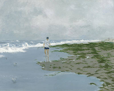 Painting - Stormy Day At The Beach by Lucinda V VanVleck