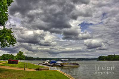 Stormy Day Dockside Lake Oconee Art Print