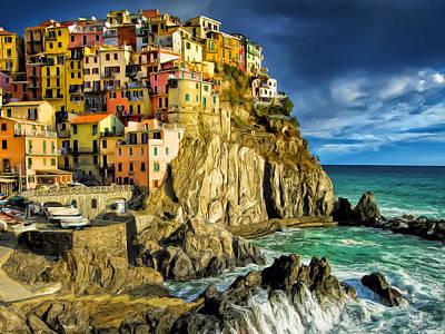 Riomaggiore Painting - Stormy Day In Manarola - Cinque Terre by Dominic Piperata